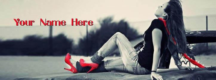 Girl in Red Facebook Cover With Name