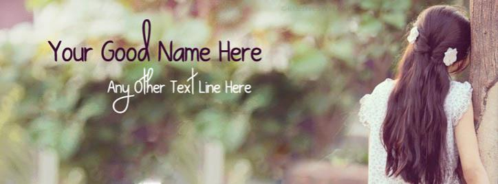 Girl Waiting for Someone Facebook Cover With Name