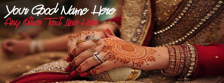 Girl Wedding Hands Facebook Cover With Name