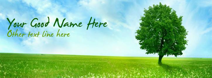 Green Tree Facebook Cover With Name