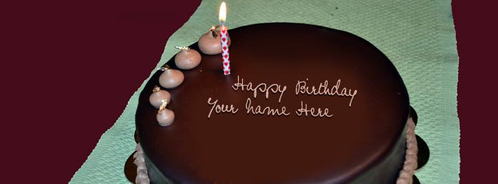 Happy Birthday Chocolate Cake Facebook Cover With Name