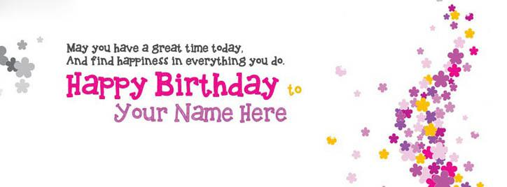 Happy Birthday Wish Facebook Cover With Name
