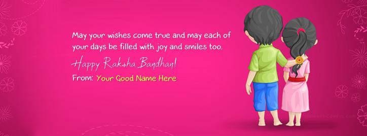 Happy Rakhi Wish Facebook Cover With Name