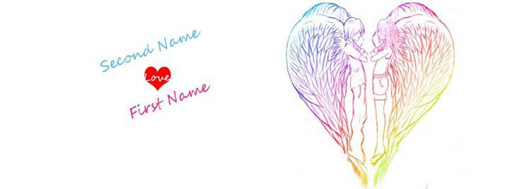 Heart Angels Facebook Cover With Name