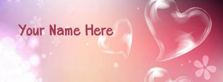 Heart Bubbles Facebook Cover With Name