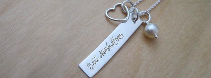 Heart Charm Rectangle Necklace Facebook Cover With Name