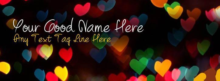 Heart Lights Facebook Cover With Name