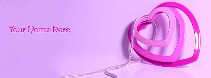 Hearts Love Locket Facebook Cover With Name