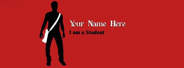 I am a Student - Boy Facebook Cover With Name