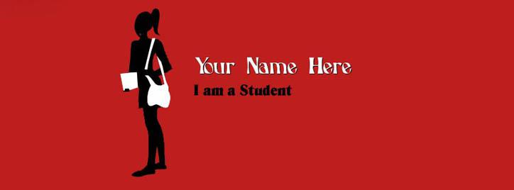 I am a Student - Girl Facebook Cover With Name
