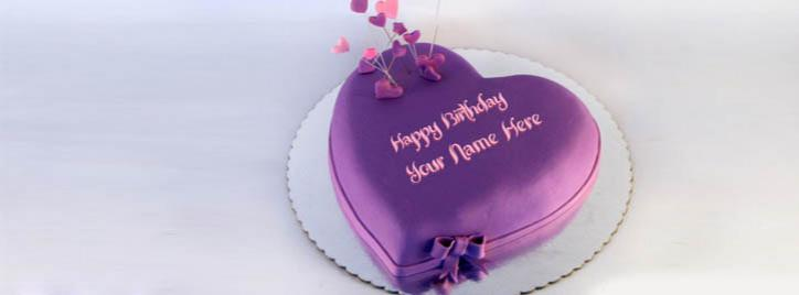 Indigo Heart Birthday Cake Facebook Cover With Name