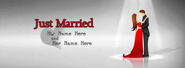 Just Married Facebook Cover With Name
