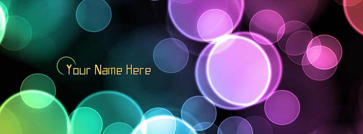 Light Bubbles Facebook Cover With Name