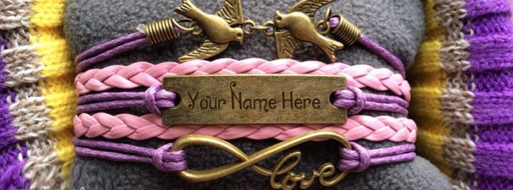 Love Birds Bracelet Facebook Cover With Name