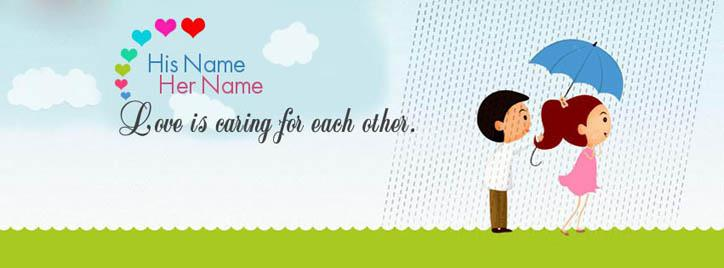 Love is caring each other Facebook Cover With Name