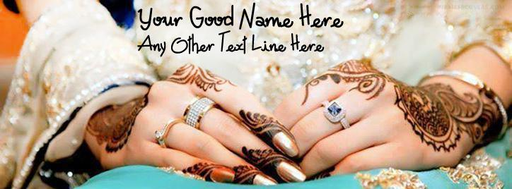 Lovely Wedding Hands Facebook Cover With Name
