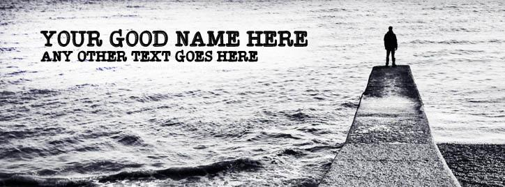 Man and Sea Facebook Cover With Name