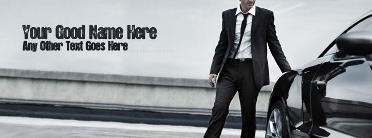 Man in suit and Car Facebook Cover With Name