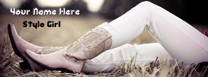 Modern Girl Facebook Cover With Name