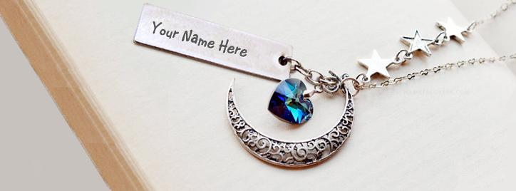 Moon Heart Necklace Facebook Cover With Name