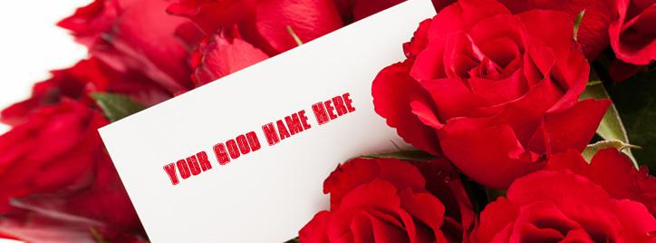 Note with Roses Facebook Cover With Name