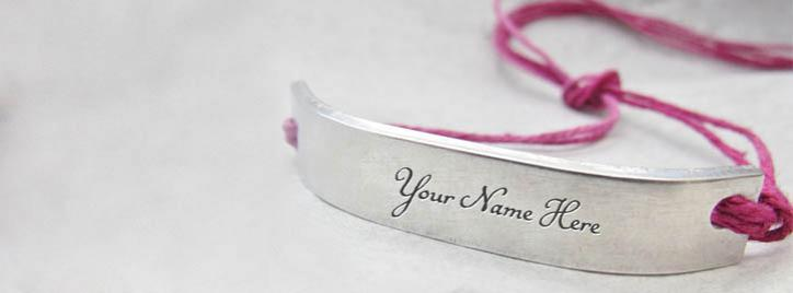 Pink Silver Personalized Bracelet Facebook Cover With Name