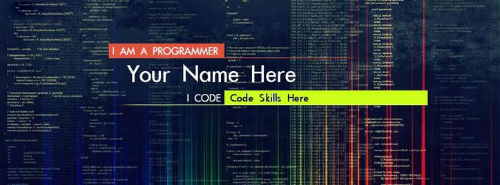 Programmer Coder Facebook Cover With Name