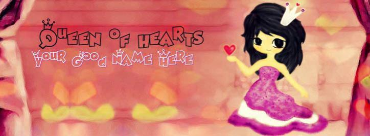 Queen of Hearts Facebook Cover With Name