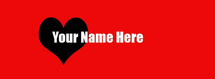 Red and Black Heart Facebook Cover With Name
