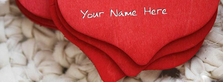 Red Heart Facebook Cover With Name