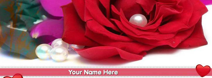 Red Rose Facebook Cover With Name