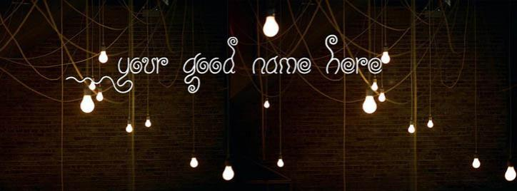 Room Bulb Lights Facebook Cover With Name