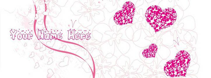 Scrap Bubbles and Hearts Facebook Cover With Name