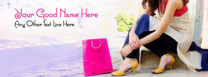 Shopping Girl Facebook Cover With Name