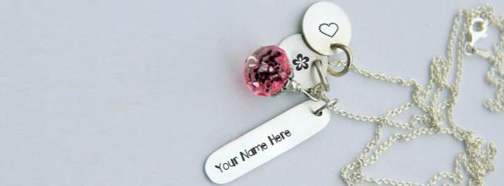 Silver Charming Necklace Facebook Cover With Name