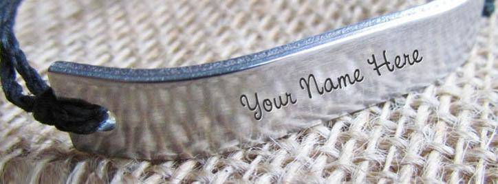 Silver Personalized Bracelet Facebook Cover With Name