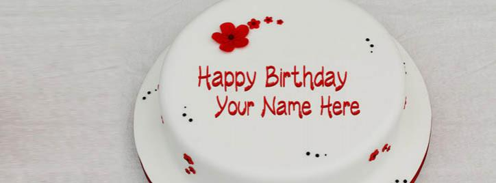 Simple Birthday Cake Facebook Cover With Name