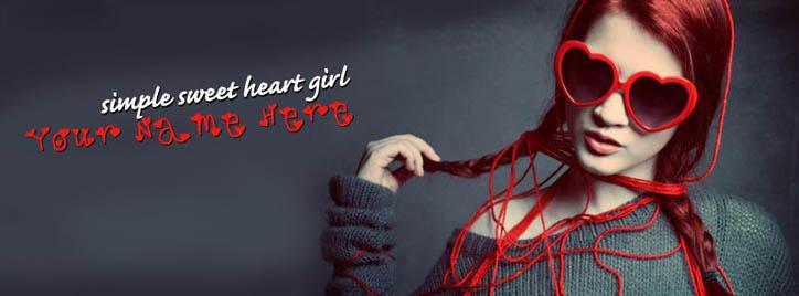 Simple Sweet Heart Girl Facebook Cover With Name