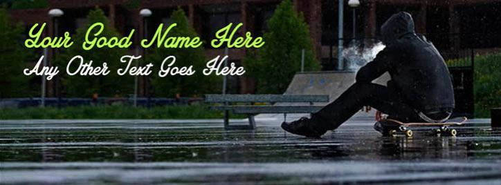 Skate Boy in Rain Facebook Cover With Name