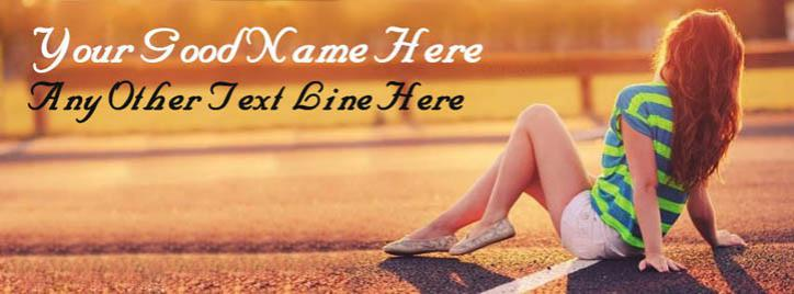 Stylish Girl Waiting Facebook Cover With Name
