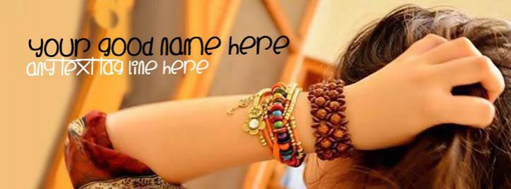 Stylish Girl Facebook Cover With Name