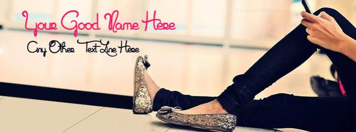 Stylish Girly Shoes Facebook Cover With Name