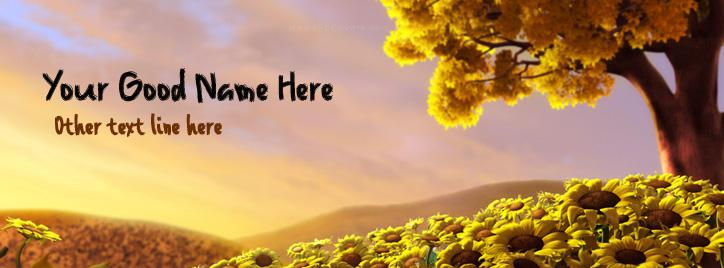 Sun Flower World Facebook Cover With Name