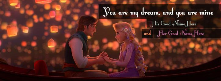 Tangled Romantic Facebook Cover With Name