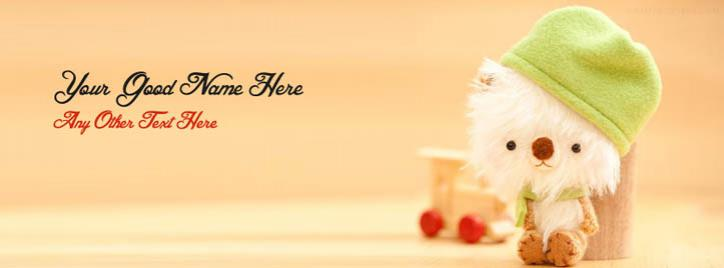 Very Cute Teddy Bear Facebook Cover With Name