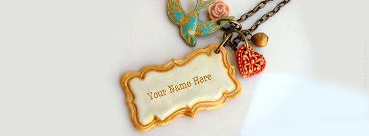 Vintage Necklace Facebook Cover With Name