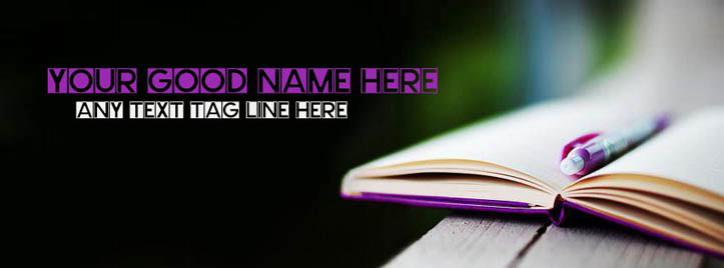 Written in book Facebook Cover With Name