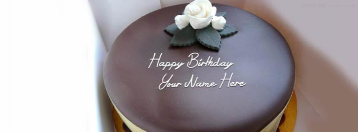 Yummy Birthday Chocolate Cake Facebook Cover With Name