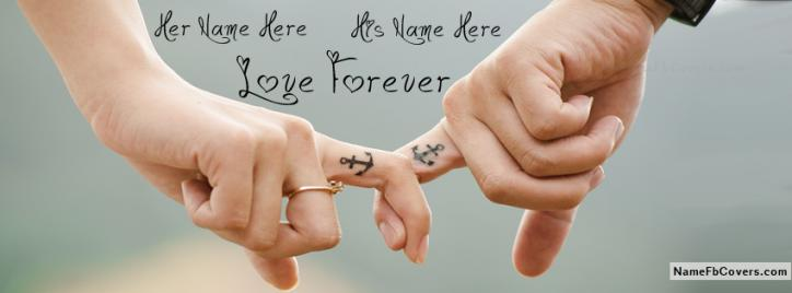 Lovely Holding Finger Facebook Cover With Name