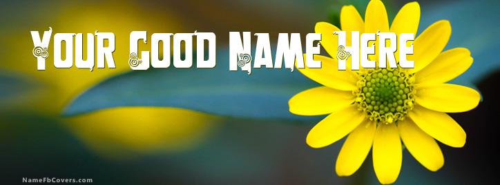 Macro Yellow Flower Facebook Cover With Name